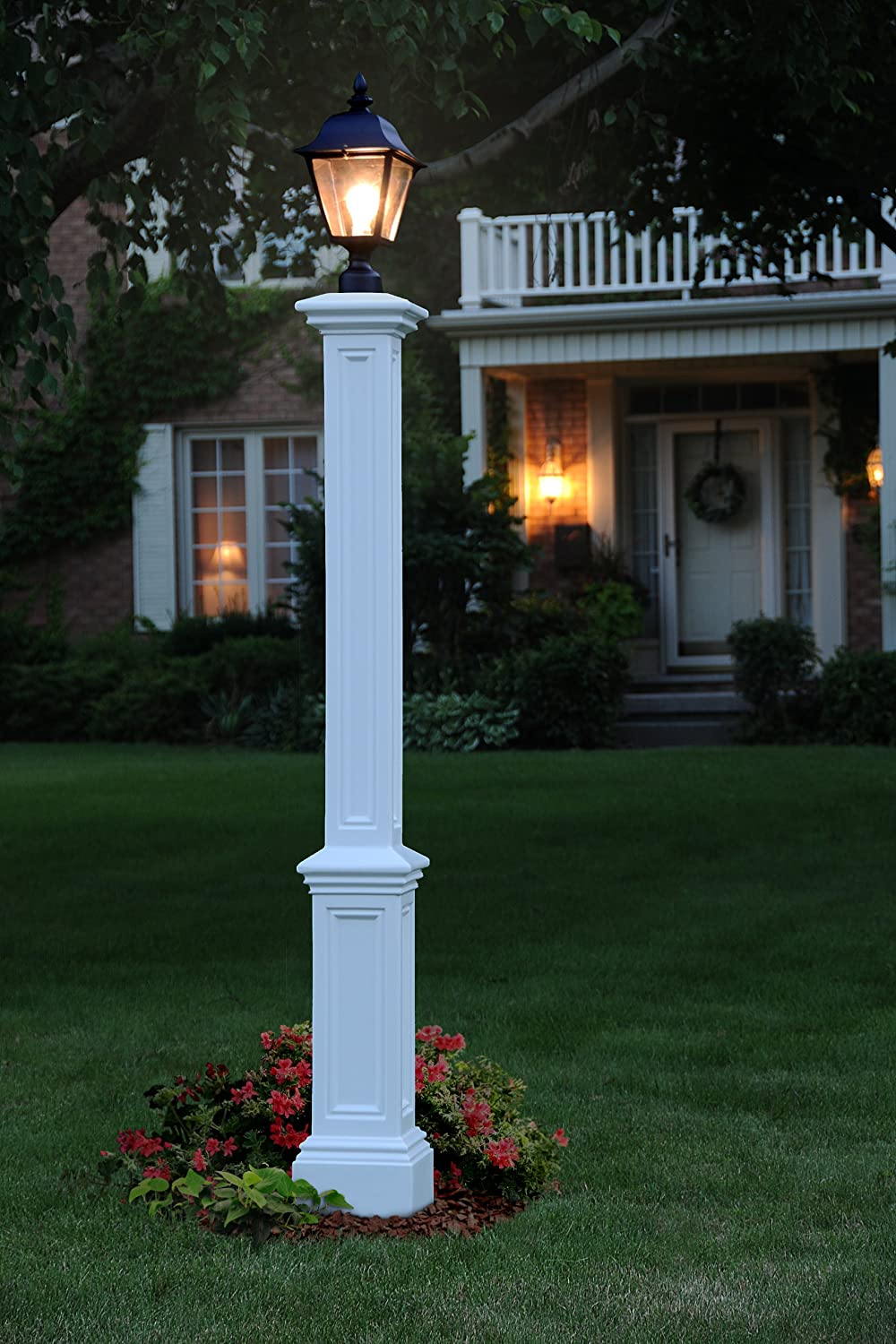 Amazon.com: Mayne 5835 WH Signature Lamp Post With 89 Inch Aluminum Ground  Mount, White: Garden U0026 Outdoor