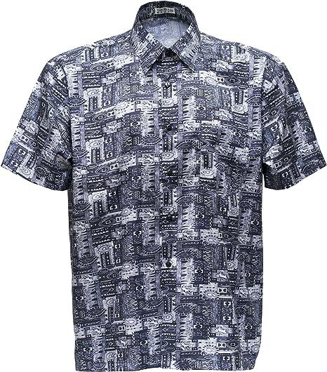 Camisa de manga corta para hombre, estampado de cachemira, seda tailandesa, color negro, negro, xxx-large: Amazon.es: Hogar