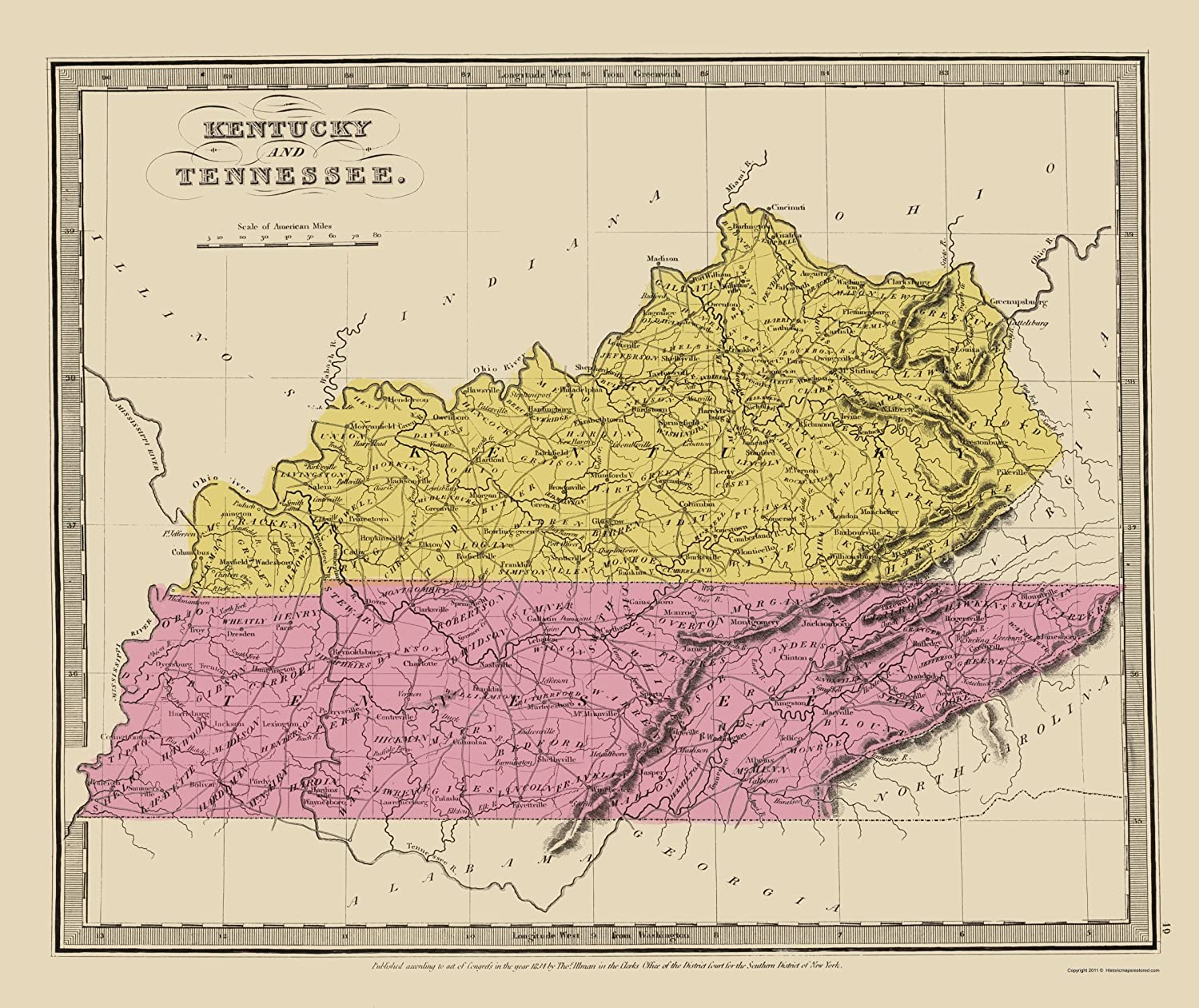 State Map Kentucky.Amazon Com Old State Map Kentucky Tennessee Illman 1834 23 X