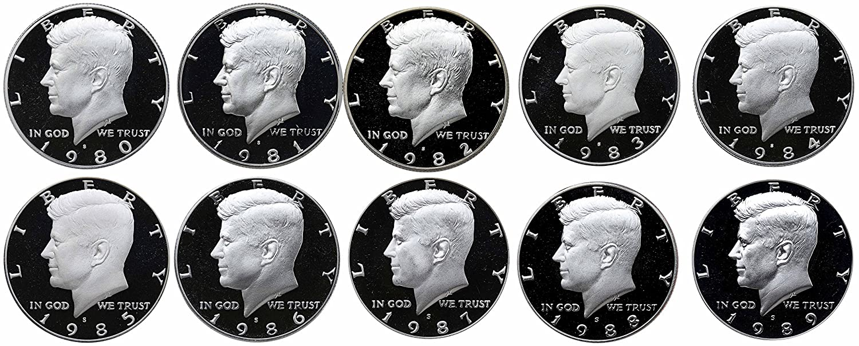 1990-1999 P/&D BU Uncirculated Mint Set 20 Kennedy Half Dollars