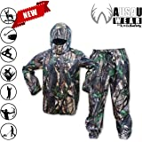 WausauWear by KwikSafety Camouflage Rain Suit, Pant & Jacket set, All Purpose, All Sport, Waterproof, Windproof, Hooded, Lightweight, Hunting, Fishing, Shooting, Women & Men | Size Large
