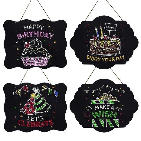 Pizarra Colgar (Pack de 4) - Pizarras Shabby Chic Decorativa con Cordel - Mini Pizarra Rectangular para Niños, Mensajes Borrables, Menú de Cocina - ...