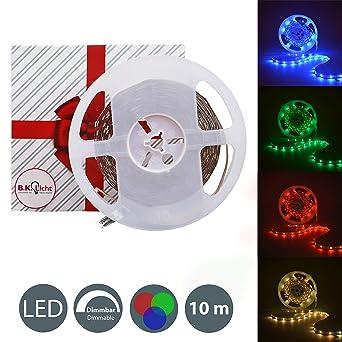 B.K.Licht 10 Meter LED Lichtstreifen Band Farbwechsel dimmbar ...
