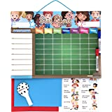 REWARD CHART Magnetic Large | Star Chart for wall or refrigerator, 17x12.6 in.| 12 activities, 2 markers and 1 balloon | Presentation box perfect as a gift for children and birthdays