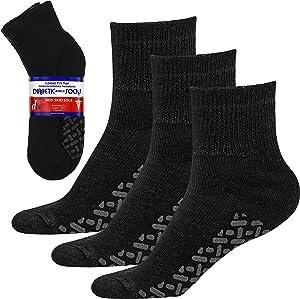 Debra Weitzner Loose Non-Binding Fit Sock - Diabetic Non-Slip Socks for Men and Women - Ankle 3Pk Black