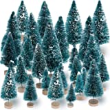 Sumind 45 Pieces Mini Sisal Snow Frost Trees Mini Pine with Wood Base Bottle Brush Trees Plastic Winter Snow Ornaments Tabletop Trees for Christmas Decoration and Display