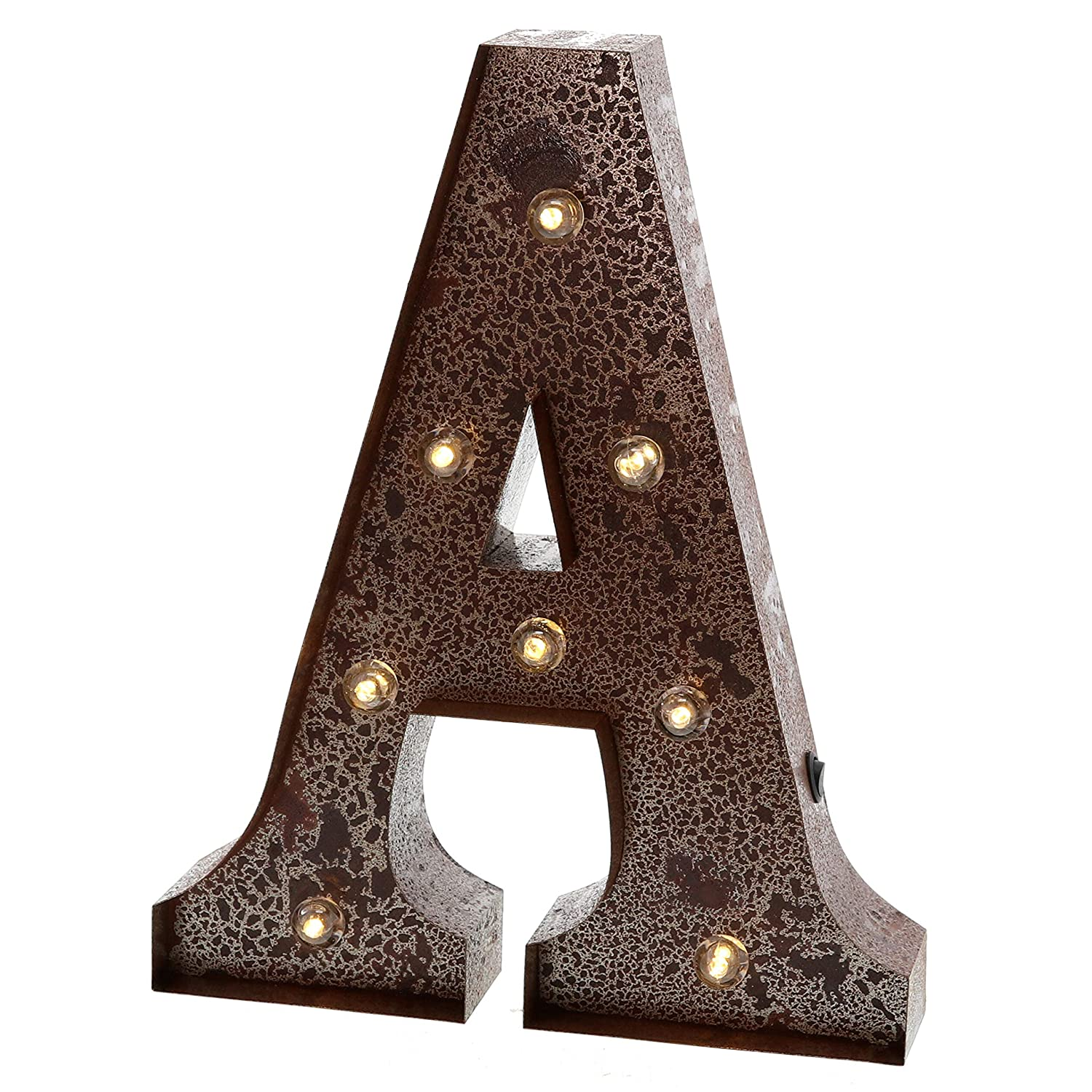 """Barnyard Designs Metal Marquee Letter A Light Up Wall Initial Wedding, Home and Bar Decoration 12"""" (Rust)"""