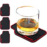 ARTORI Silicone Drink Coasters For Dad Cool Mom and Women, Man Caves, Brother, Men, Sister and Friends, Car Lovers, Black, Set 4 (Car Mat)