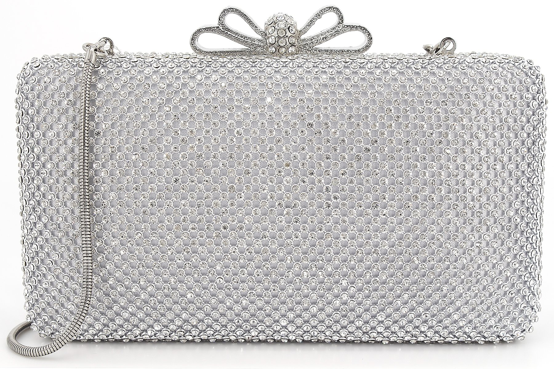 Dexmay Bling Rhinestone Crystal Clutch Purse Bow Clasp Women Evening Bag for Bridesmaid Wedding Party Silver
