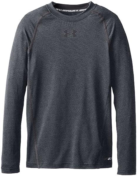 Under Armour Boys' HeatGear Armour Long Sleeve Fitted Shirt, Carbon Heather /Black,
