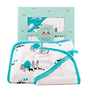 Hooded Baby Towel & Washcloth Bath Set - Organic, Antibacterial & Hypoallergenic Bamboo | 40% More Absorbent & 2x Softer Baby Bath Towels With Hood for Infants, Newborns, and Toddler Boys and Girls