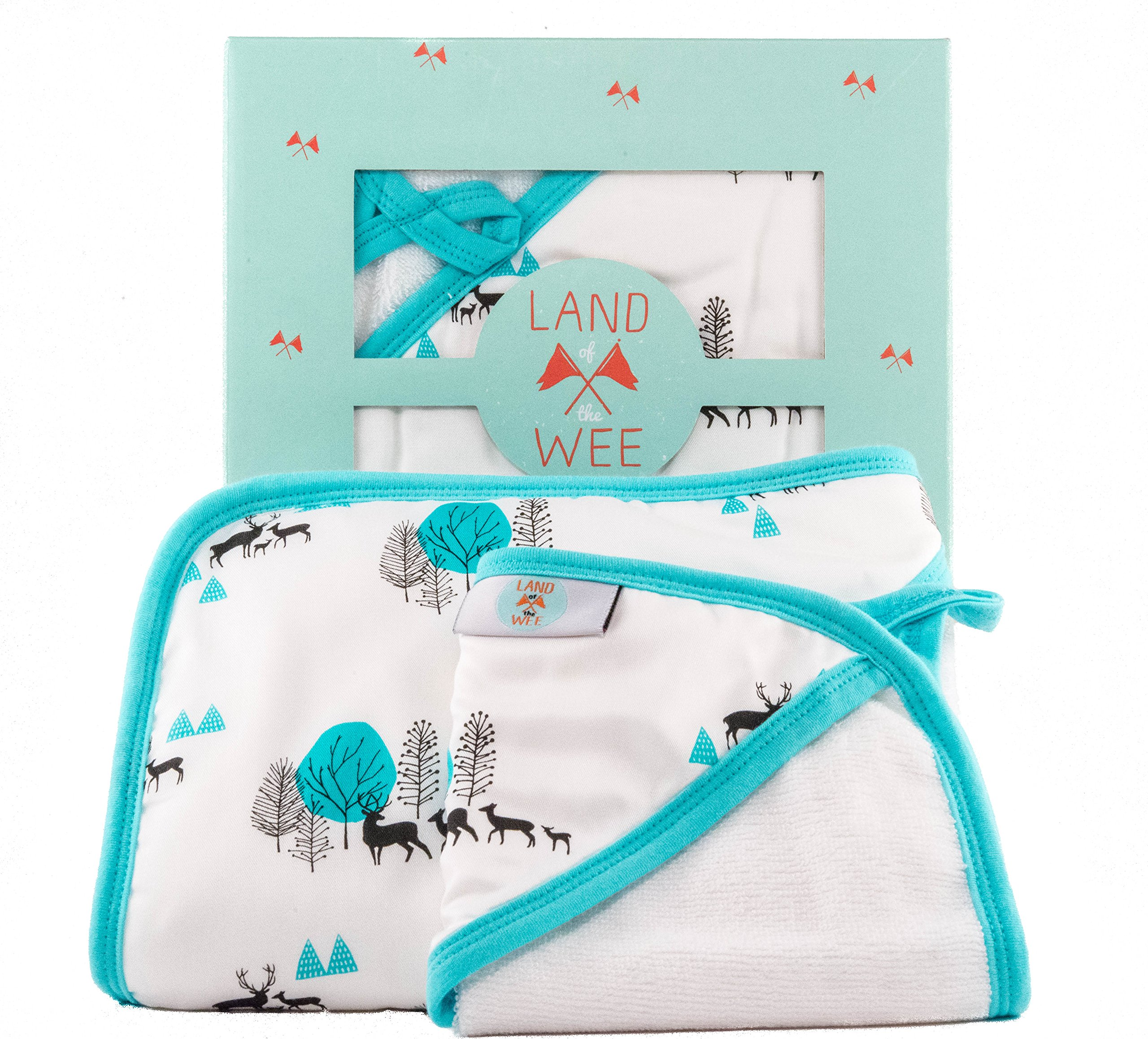 Luxury Hooded Baby Towel and Washcloth Set - Unisex Woodland Print - Extra Soft Organic Bamboo Bath Towel With Hood | Hypoallergenic and Gentle for Sensitive Skin of Newborn to Toddler Boys and Girls