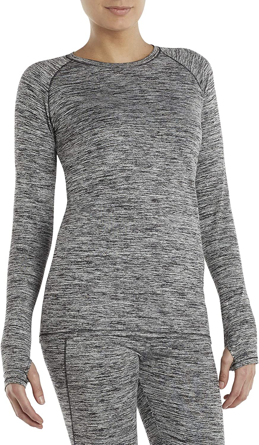 Cuddl Duds Climate Right Plush Warmth Base Layer Soft Long Sleeve Crew with Thumbholes