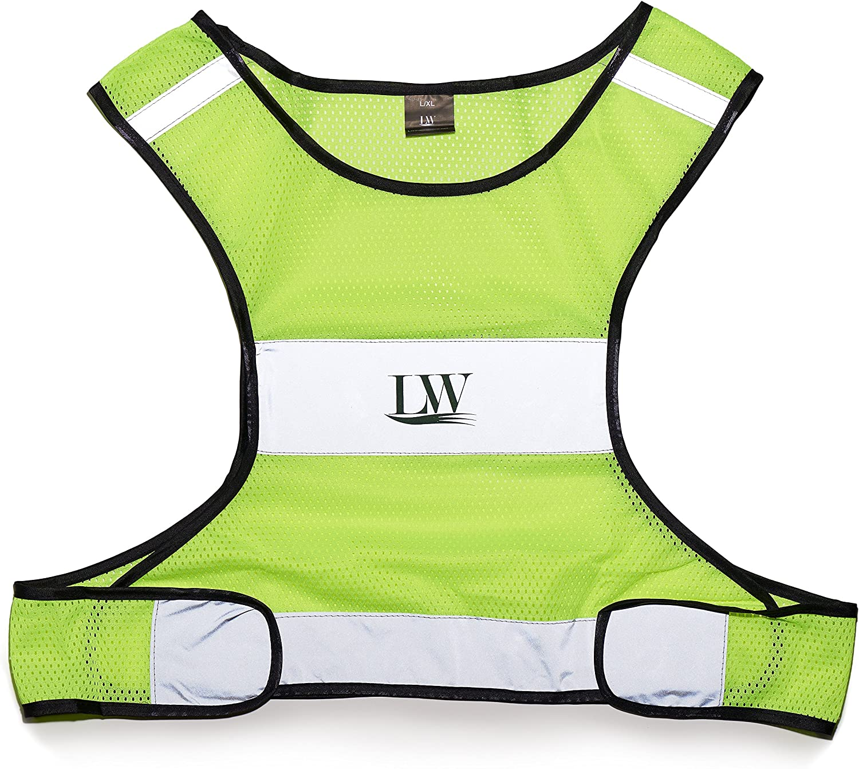 LW (Living Water Reflective Running Vest with Bonus Sticker, Gear for Biking Walking Cycling Jogging