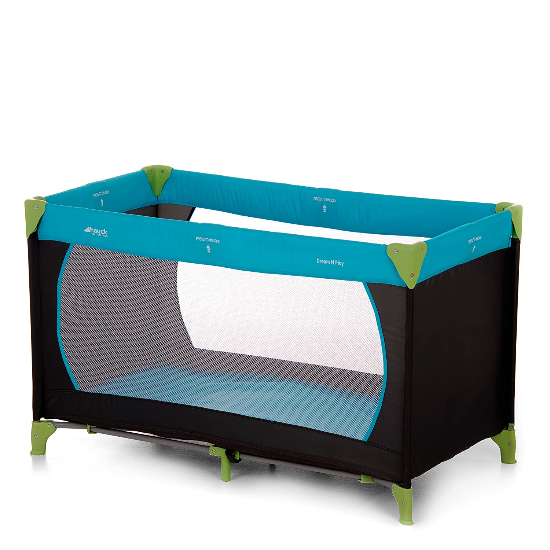 Hauck Dream N Play Plus Lettino da Viaggio, Inclusi Materasso e Borsa di Trasporto 120 x 60 cm, Utilizzabile dalla Nascita, Pieghevole, Yellow Blue Navy (Blu Giallo) 604038 Cameretta Culle e lettini