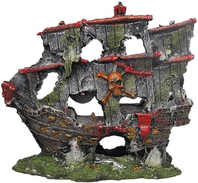 Nicepets - Adorno para decoración de acuario, pecera y terrario de resina con forma de barco pirata hundido: Amazon.es: Productos para mascotas