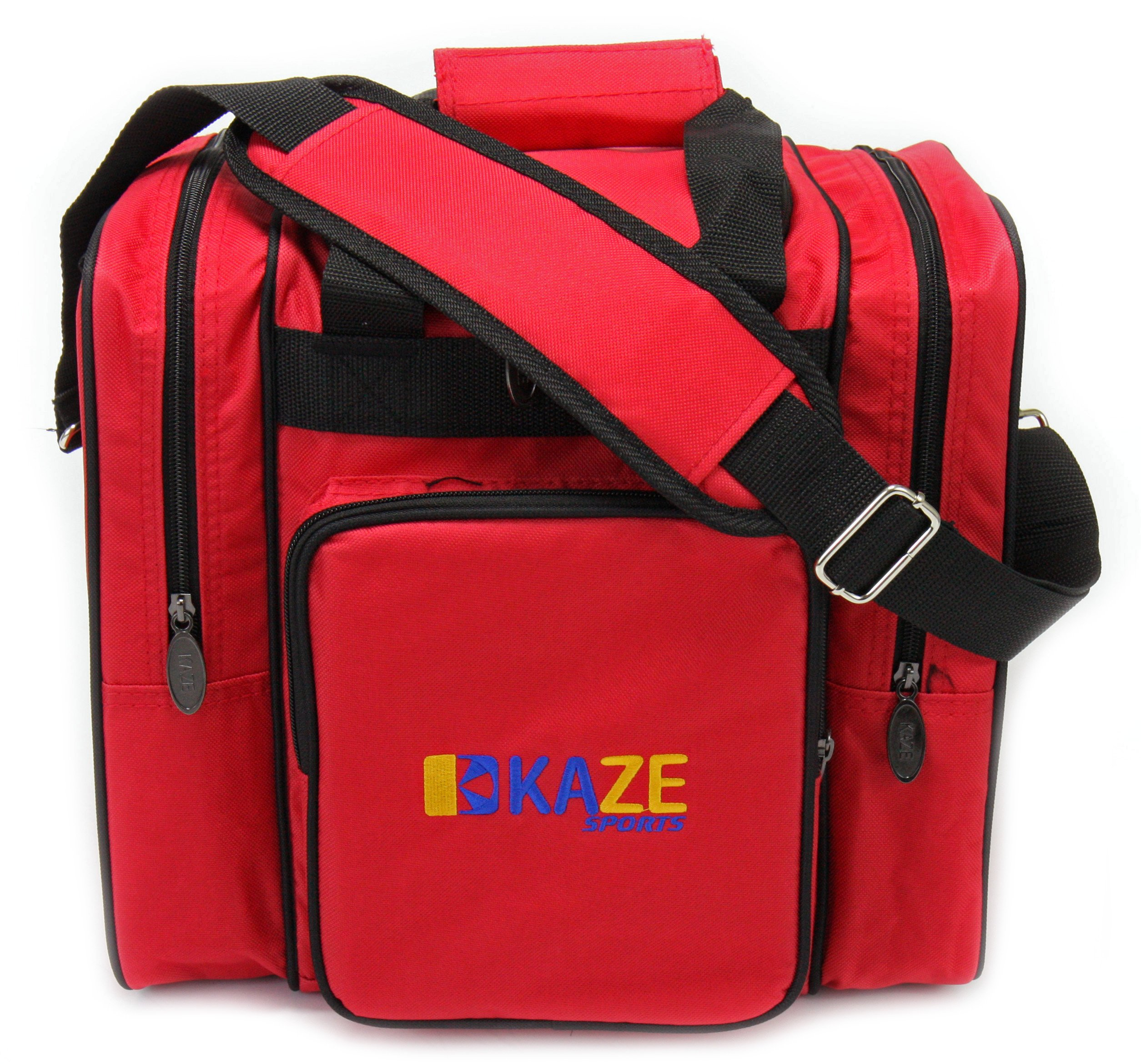 KAZE SPORTS Deluxe 1 Ball Bowling Tote with Two Side Pockets (Red)