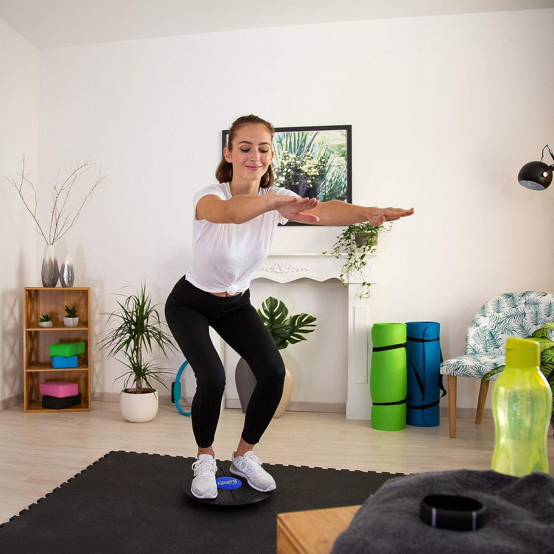 Bluefinity Tabla Equilibrio, Balance Board, Plataforma, Disco, Ejercicio, Entrenamiento, Fitness, 1 Ud, 36 cm, Negro