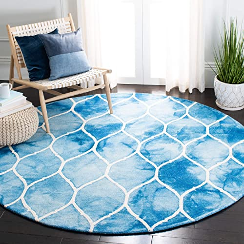 Safavieh Dip Dye Collection DDY685G Handmade Moroccan Ogee Geometric Watercolor Blue and Ivory Wool Round Area Rug 7 Diameter