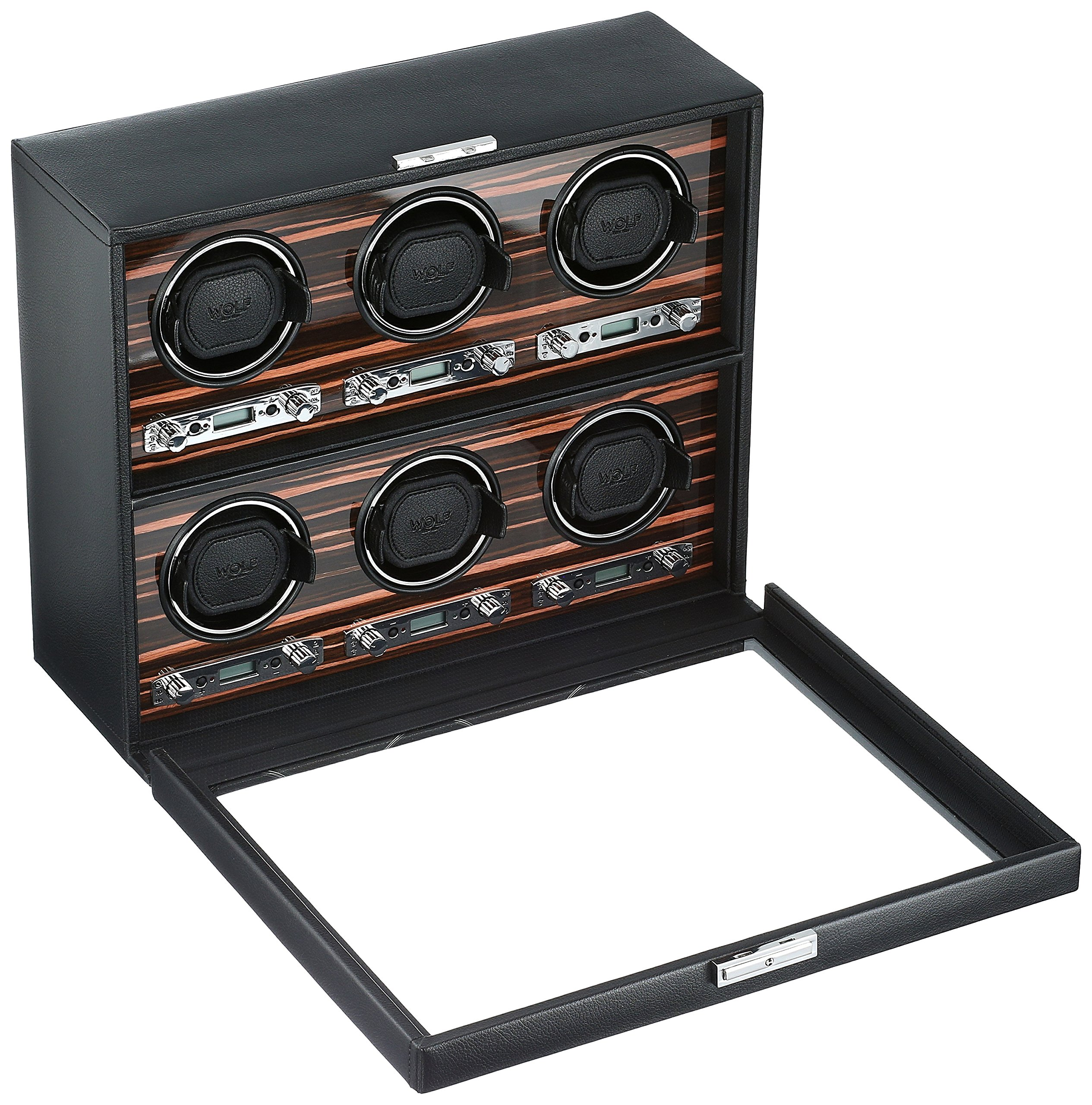 WOLF 459256 Roadster 6 Piece Watch Winder with Cover, Black by WOLF (Image #2)