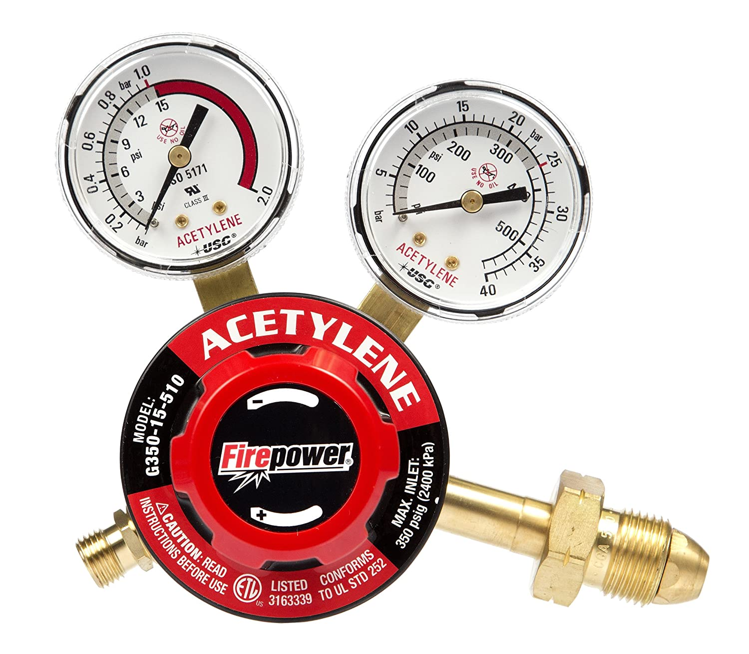 Firepower 0781-9830 250 Series OxyFuel Acetylene Regulator for Tips with a 6-Inch Cutting Capacity
