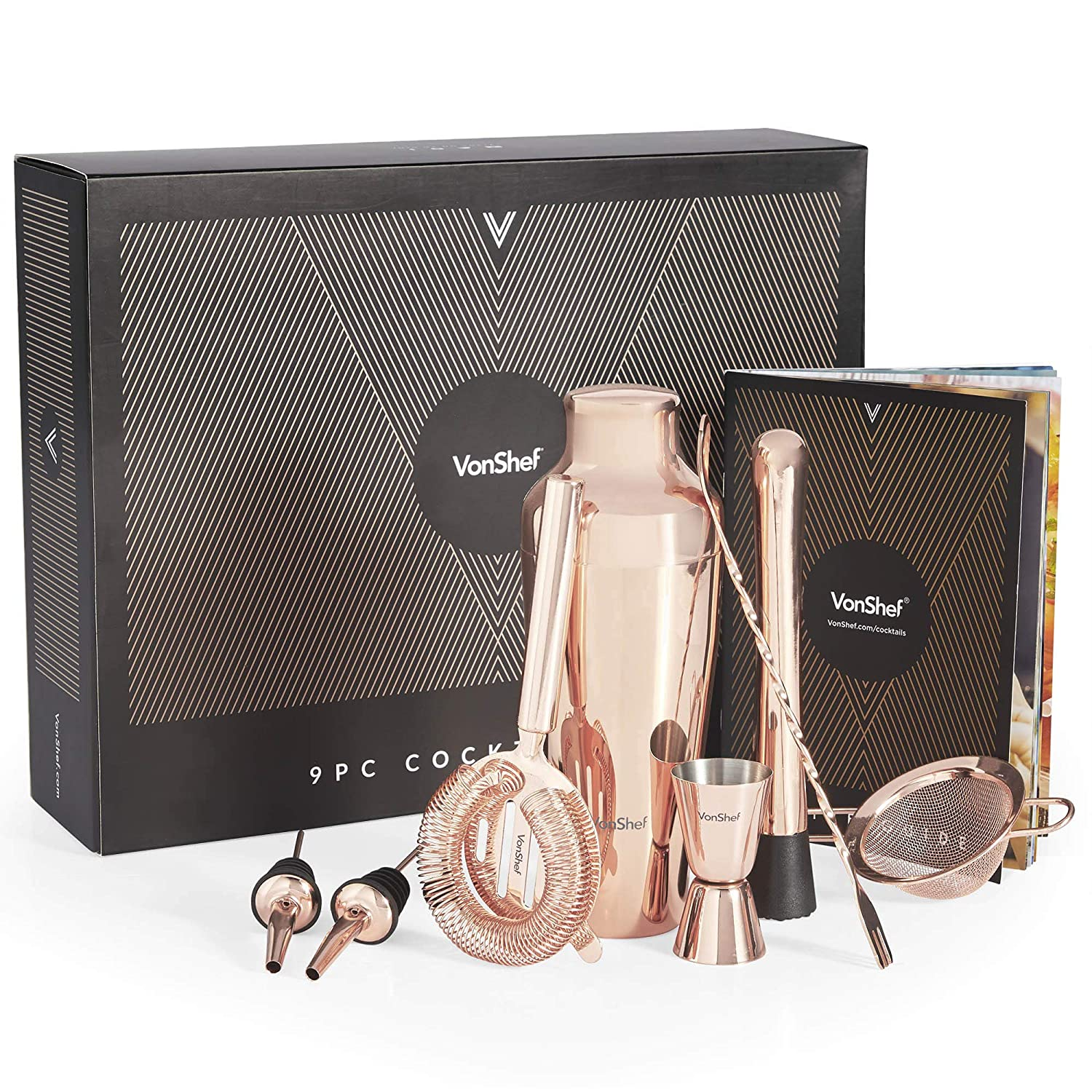 Cocktail Strainers Copper VonShef Parisian Cocktail Shaker Barware Set in Gift Box with Recipe Guide Jigger 9 Piece Set Muddler and Pourers Twisted Bar Spoon 17oz