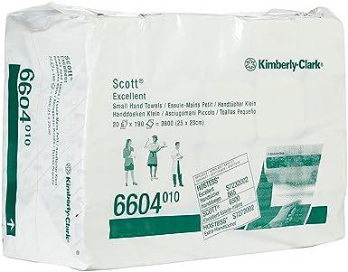 SCOTT* EXCELLENT Toallas Secamanos Interplegadas 6604 - 190 toallas de color blanco y 2 capas