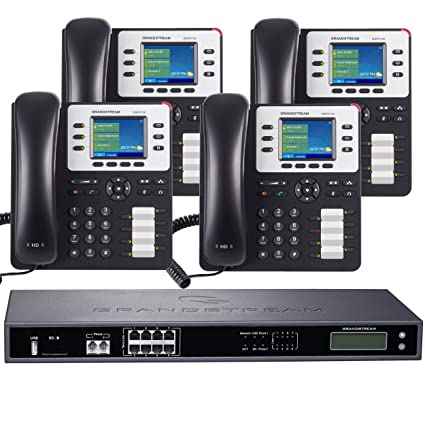 Business Phone System by Grandstream 8-Line Enhanced Pack: Color Phones  Including Auto Attendant, Voicemail, Cell & Remote Phone Extensions, Call