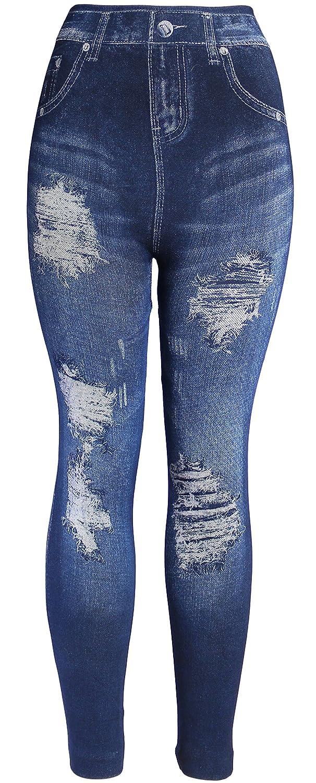 6cdf9bec07890 Top4: KMystic Women\'s Denim Print Fake Jeans Leggings