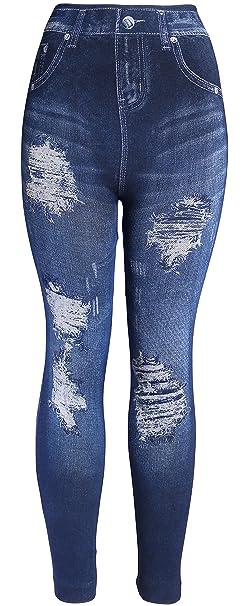 cbd00ff97b4 KMystic Women s Denim Print Fake Jeans Leggings (Big Rip) at Amazon ...