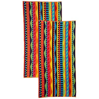 Cotton Craft - 2 Pack - Jacquard Double Woven Velour Beach Towel 32x63 - Summer Waves Multi - Thick Plush Luxurious Velour Pile - 450 GSM - 100% Pure Ringspun Cotton - Brilliant Vibrant Colors