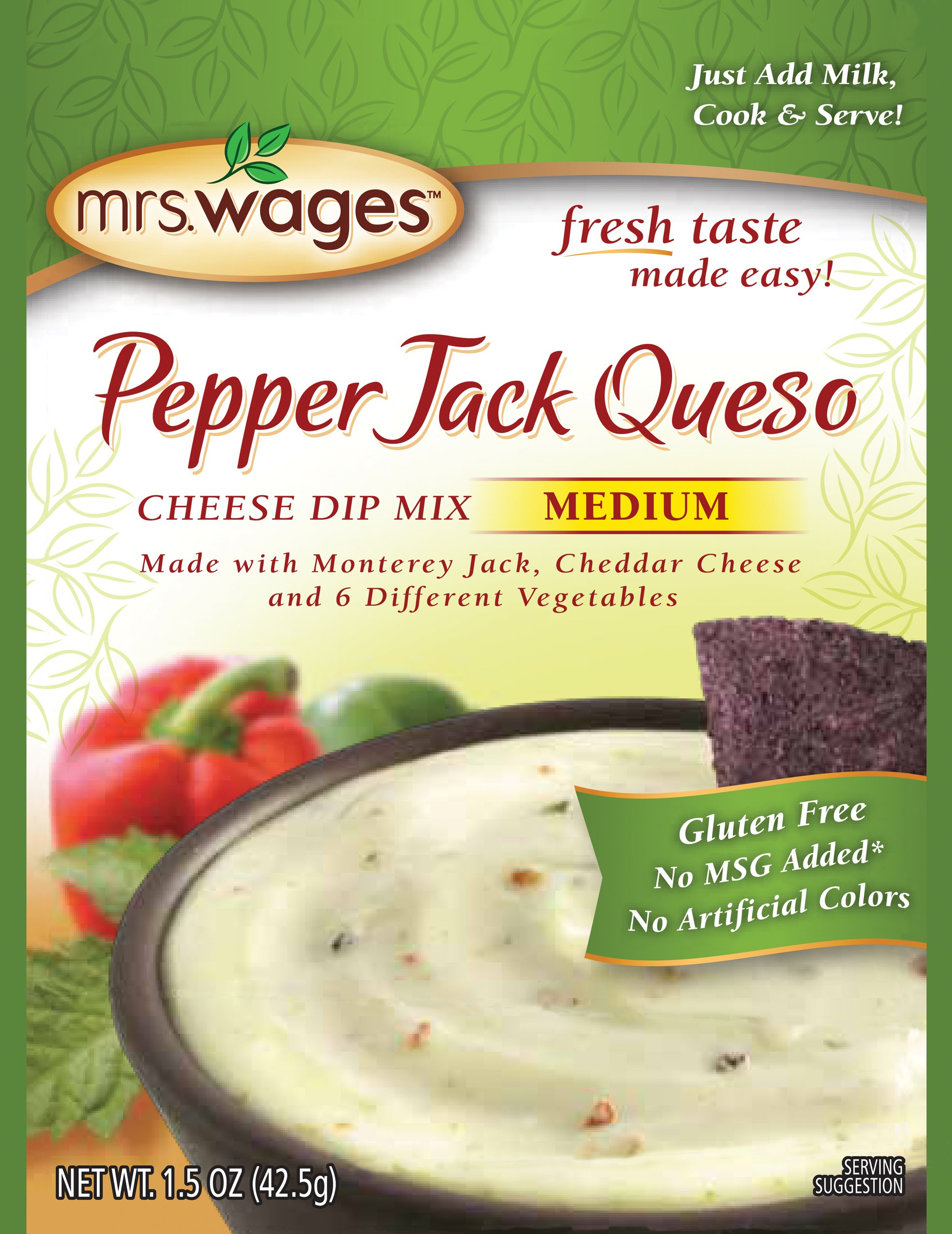 Mrs. Wages Medium Cheese Dip Mix, Pepperjack Queso, 1.5 Ounce (Pack of 12) by Mrs. Wages