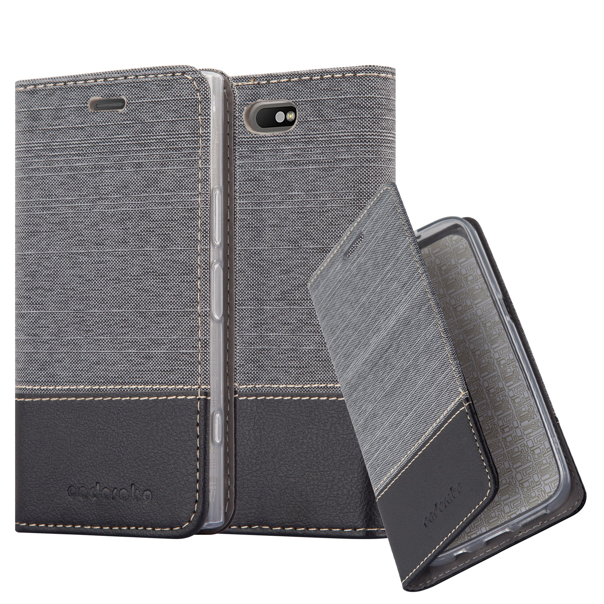 Cadorabo Case works with Sony Xperia XZ1 COMPACT Book Case in GREY BLACK (Design FABRIC-FAUXLEATHER) – with Magnetic Closure, Stand Function and Card Slot – Wallet Case Etui Cover PU Leather