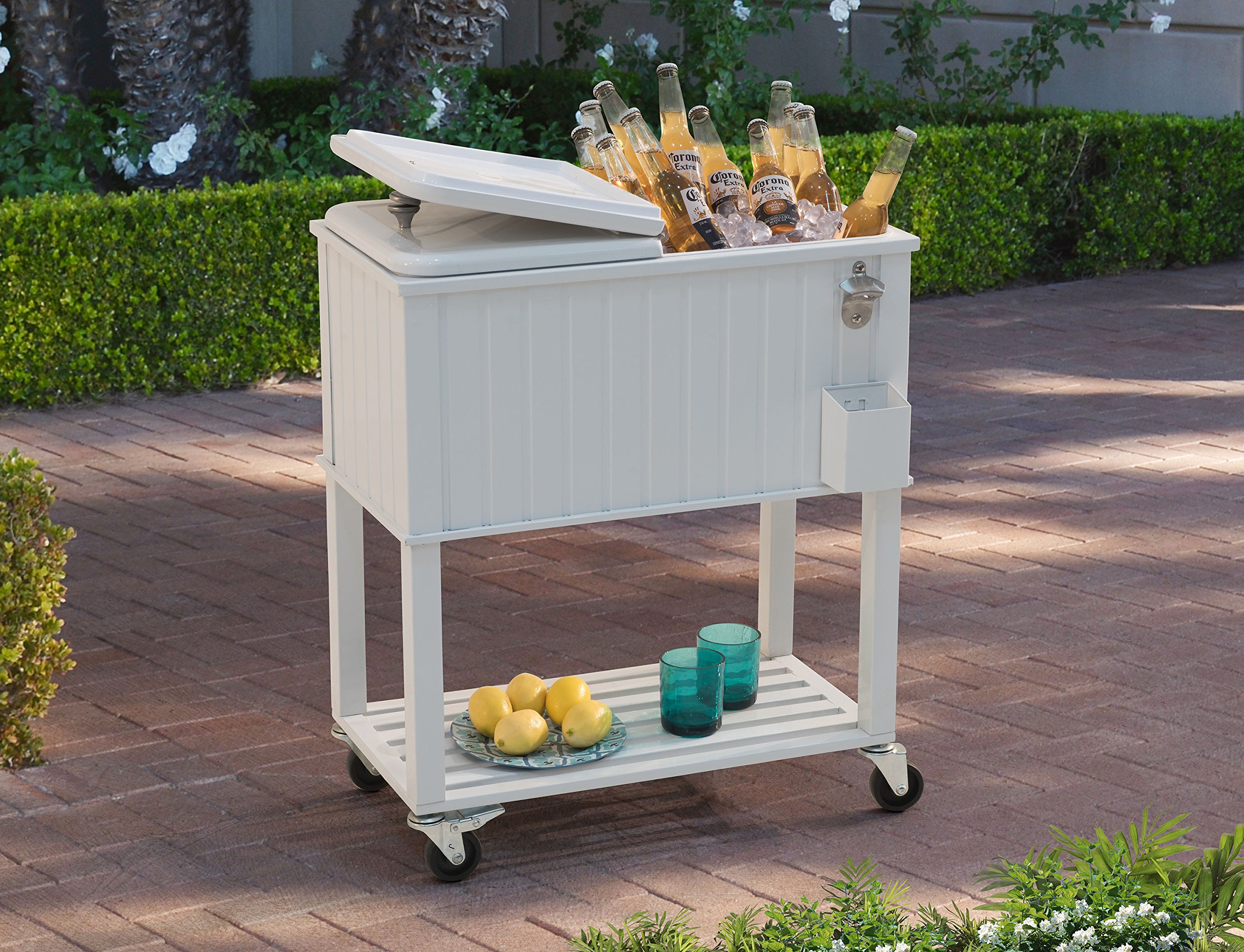 Sunjoy 60 quart Wheeled Beverage Cooler with Faux White Wood Finish with Shelf by sunjoy