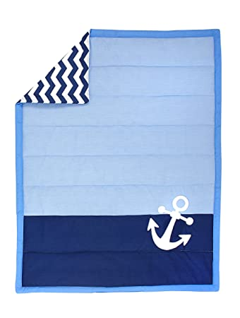 Little Love by NoJo Separates Collection Anchors Printed Crib Sheet Navy 52 X 28
