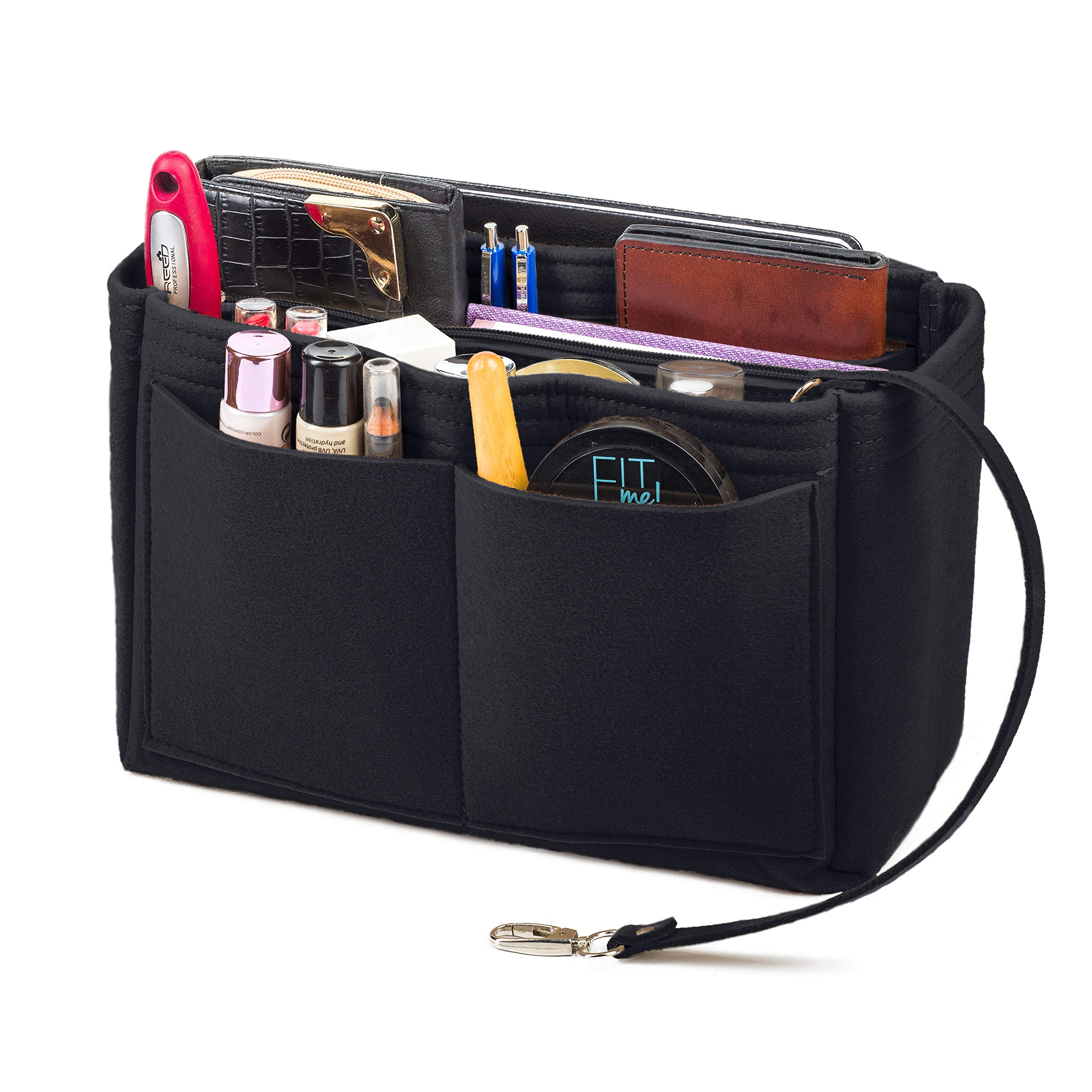 Purse Organizer Insert, Felt Bag Organizer with Zipper on Removable Handbag, Fits LV Speedy, Neverfull, Longchamp, Tote (XL, Black) by Lenox Trading Company