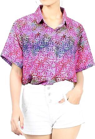 HAPPY BAY - Camisa Hawaiana para Mujer, Cuello con Botones, Casual, para Nadar, Playa, Fiesta, Aloha - Rosa - X-Large: Amazon.es: Ropa y accesorios