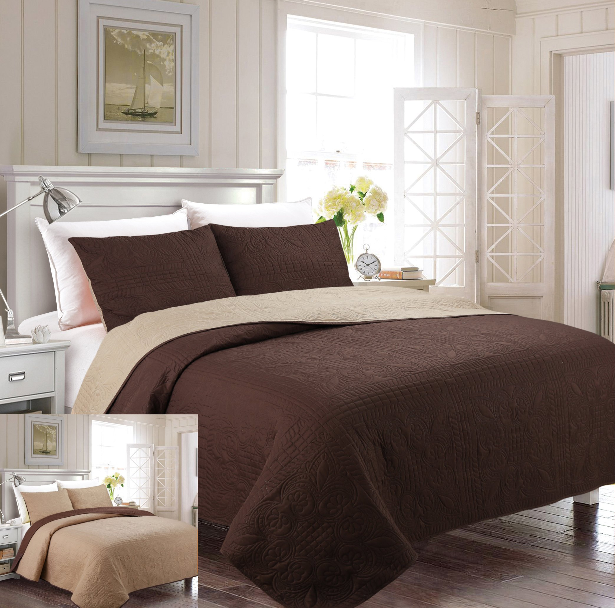Fancy Collection 3pc Luxury Bedspread Coverlet Embossed Bed Cover Solid Reversible Coffee /Taupe Over Size New King/California King 118'' X 106''