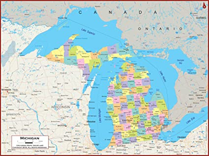 Amazon Com 36 X 27 Michigan State Wall Map Poster With Counties