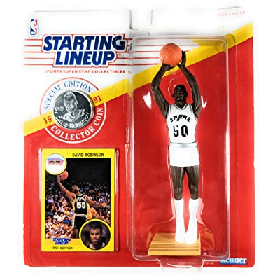 Starting Lineup 1991 - Kenner Special Edition - David Robinson #50 - San Antonio Spurs - Vintage Action Figure - w/ Trading Card & Commemorative Coin - Rare - Limited Edition - Collectible: Toys & Games