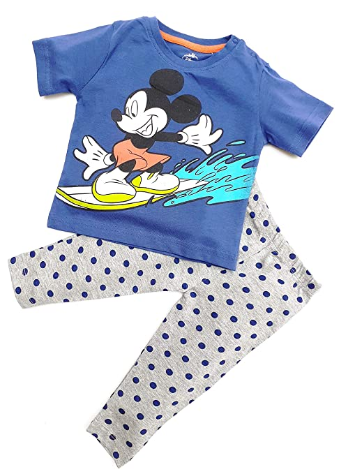 601c96802 TuddyBuddy T-Shirt & Lounge Pant Set for Boys - Night Suit, 100% Cotton  Jersey - Mickey Mouse Printed Green & Grey (9-12 Months): Amazon.in: Baby