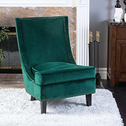Christopher Knight Home 296306 Brayden Mid Century Velvet Accent Chair,  Dark Green