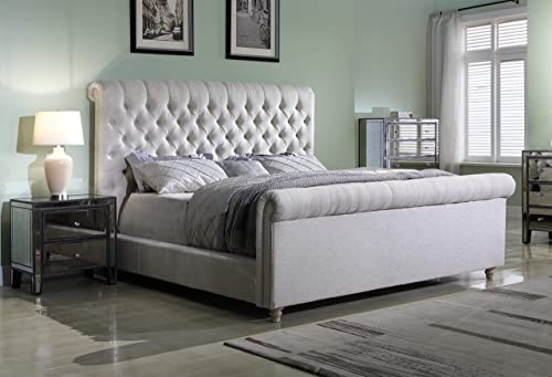 Best Master Furniture Jean-Carrie Upholstered Sleigh Bed Cal. King Beige