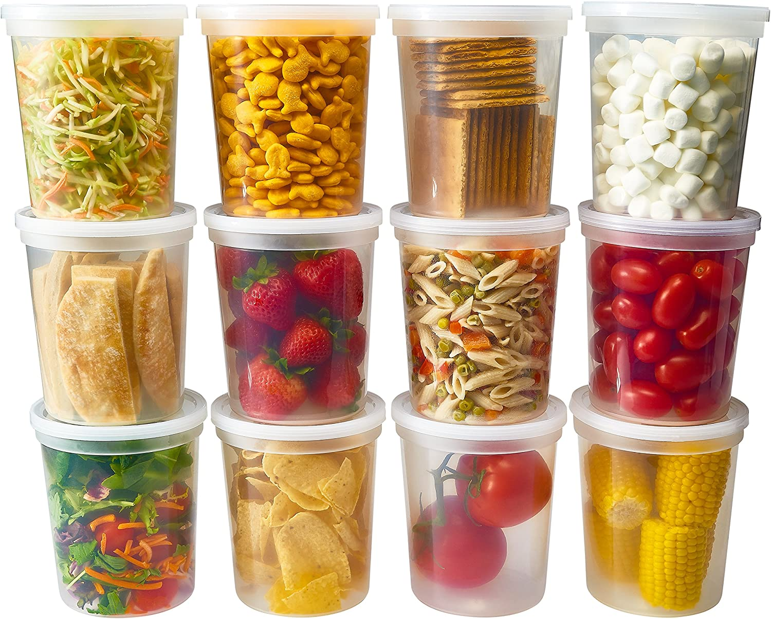 DuraHome - Deli food Storage Containers with Lids 32 oz, Quart Pack of 24 Leak-proof Freezer Safe Microwaveable Soup Storage Container - Clear Plastic Premium Quality