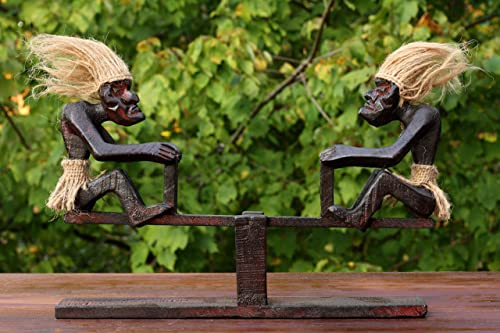 G6 Collection Handmade Wooden Primitive Tribal Funny Statue Teeter Tottering Sculpture Tiki Bar Handcrafted Unique Gift Decorative Home Decor Accent Figurine Decoration Hand Carved Teeter Tottering