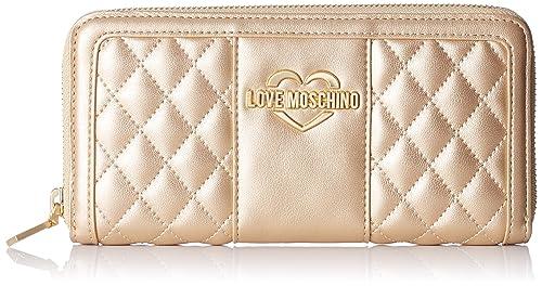 Love Moschino - Portaf.quilted Met.nappa Pu, Carteras Mujer, Dorado (