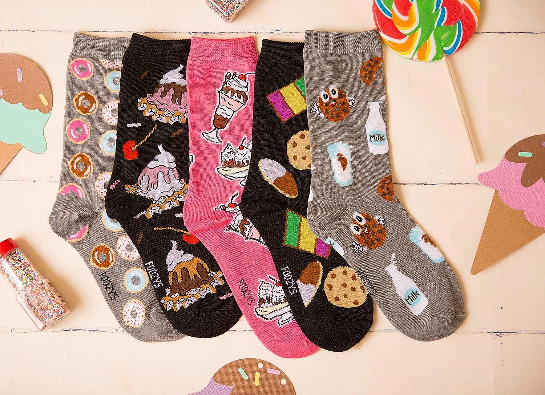 Ice Cream Sundae Print Foozys Fun Socks Womens Girls 2 Pairs Free Shipping
