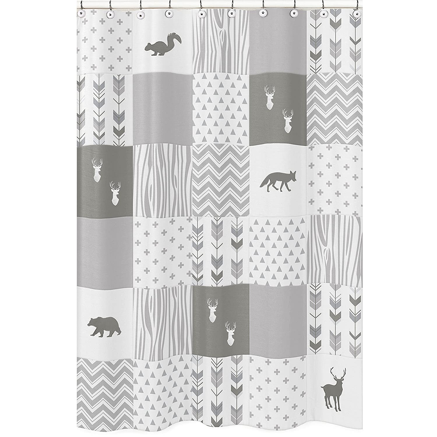 Amazon Sweet Jojo Designs Grey And White Woodland Bathroom Fabric Bath Shower Curtain For Woodsy Deer Collection Baby