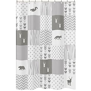 Sweet Jojo Designs Grey And White Woodland Bathroom Fabric Bath Shower Curtain For Woodsy Deer Collection