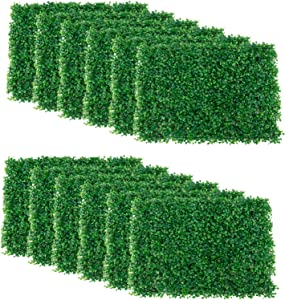 """Artilife 12Pcs Artificial Boxwood Panels UV Protected Faux Grass Wall Greenery Mats for Outdoor Garden Fence Backyard and Indoor Home Wedding Decoration (15.7"""" x 23.6"""")"""